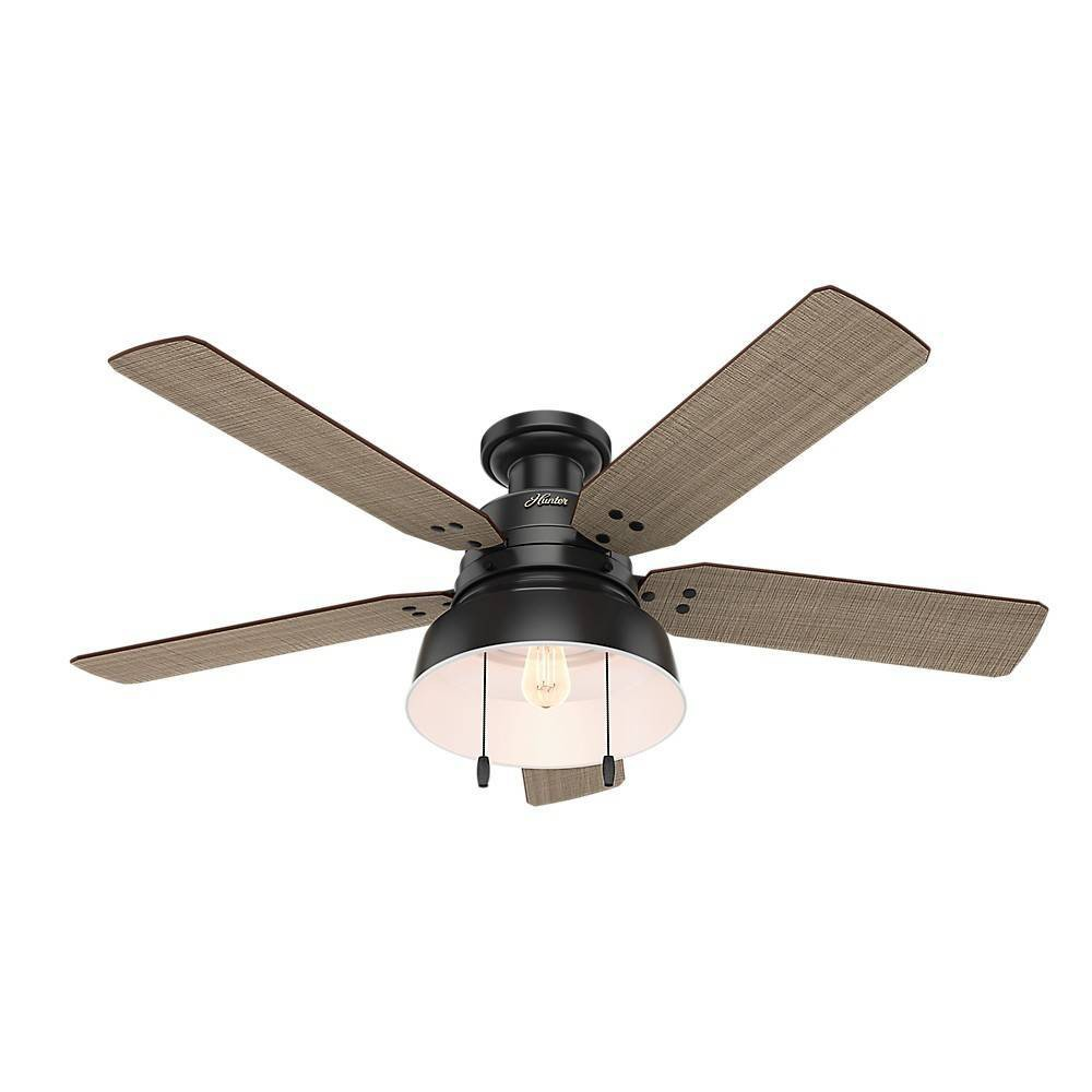 52 34 Led Mill Valley Damp Rated Low Profile Ceiling Fan Includes Energy Efficient Light Bulb Black Hunter