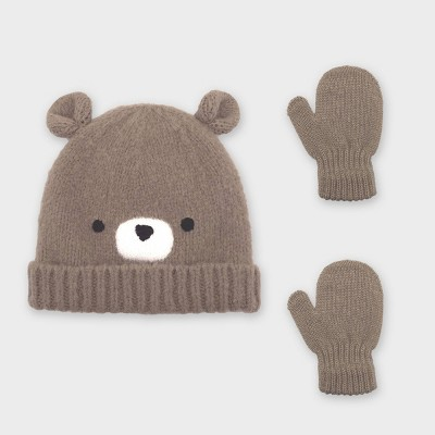 Baby Boys' Bear Beanie and Magic Mittens Set - Cat & Jack™ Brown 12-24M