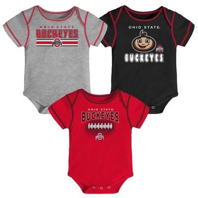 NCAA Ohio State Buckeyes Baby Boys' 3pk Bodysuit Set - 6-9M