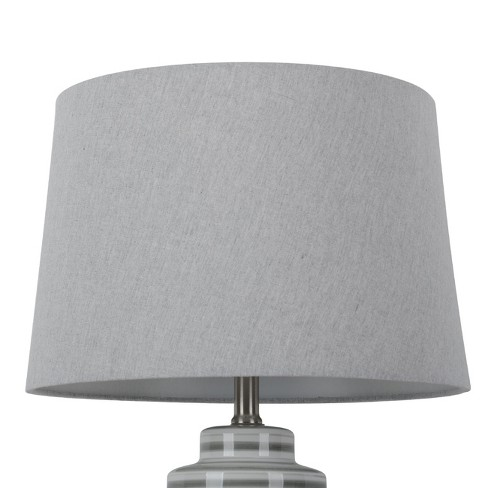 Large Linen Mod Drum Lampshade Gray