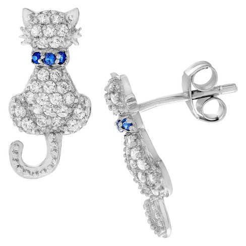 2/5 CT. T.W. Round-cut Cubic Zirconia Cat Stud Pave Set Earrings in Sterling Silver - image 1 of 2