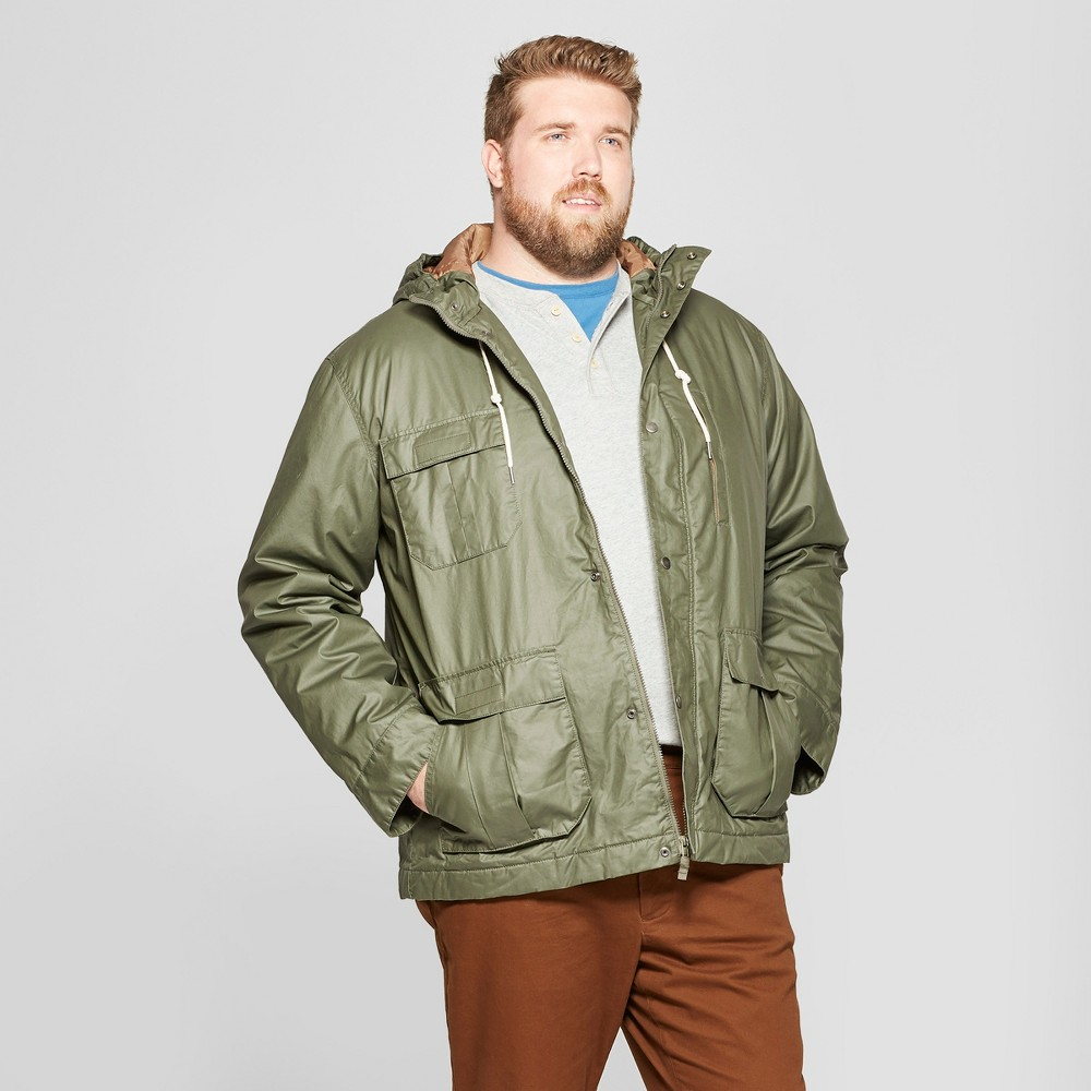 Men's Big & Tall Short Base Parka Jacket - Goodfellow & Co Olive 3XBT, Green