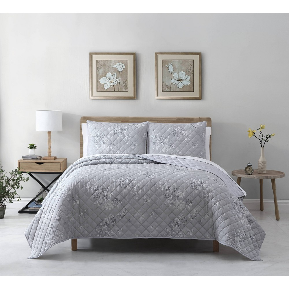 Full Queen 3pc Rhodes Cotton Lyocell Floral Quilt Set Gray Avery Homegrown