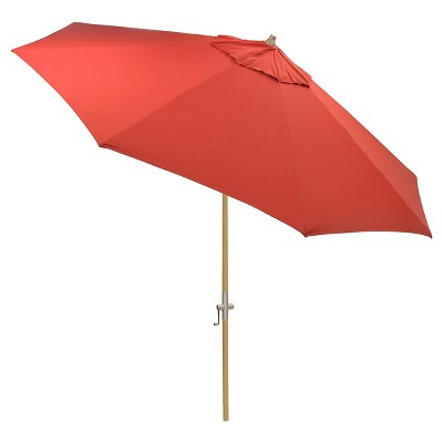 8.9' x 8.9' Round Sunbrella® Umbrella - Canvas Jockey Red - Light Wood Finish - Smith & Hawken™