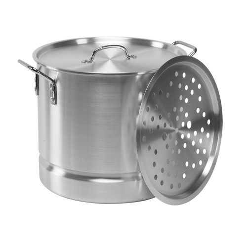 IMUSA 32qt Aluminum Tamale/Seafood Steamer with Rack & Lid, Silver