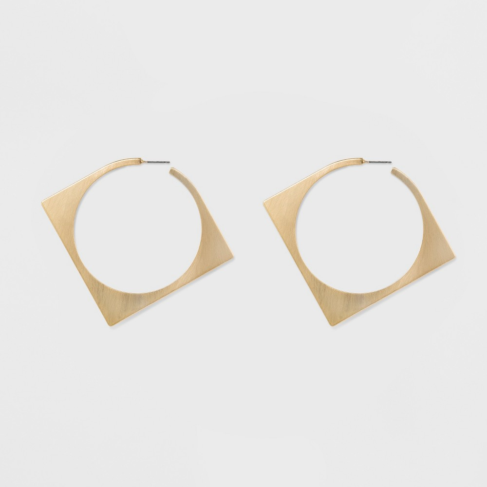 "Image of ""Women's Natasha Accessories Gold Plated Square Inner Circle Earring - Gold (2.5""""), Size: Small"""