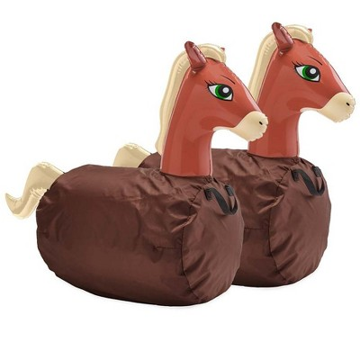 HearthSong Set of Two Inflatable Ride-On Hop 'n Go Horses for Kids' Active Play