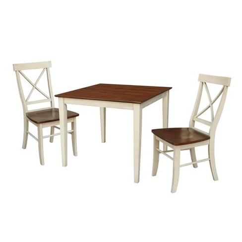 Dining Table with 2 Back Chairs Brown - International Concepts - image 1 of 4