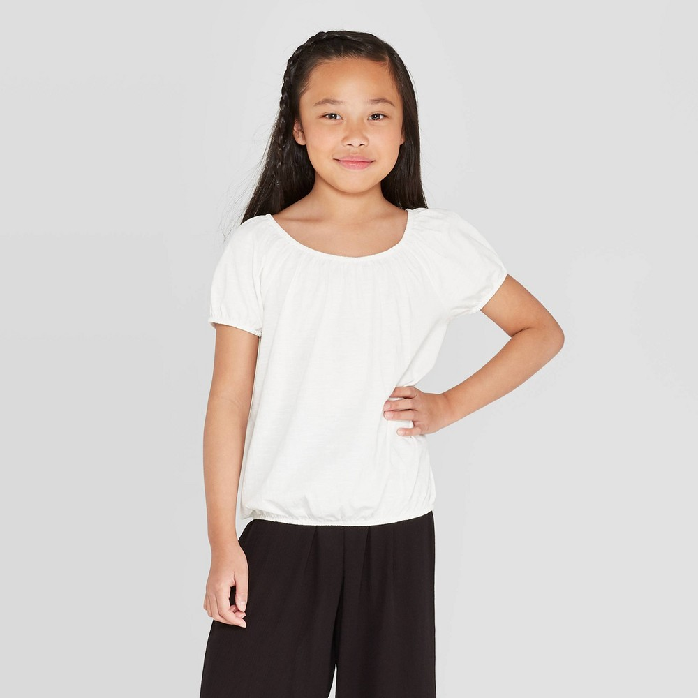 Image of petiteGirls' Short Sleeve Peasant Top - art class White M, Girl's, Size: Medium