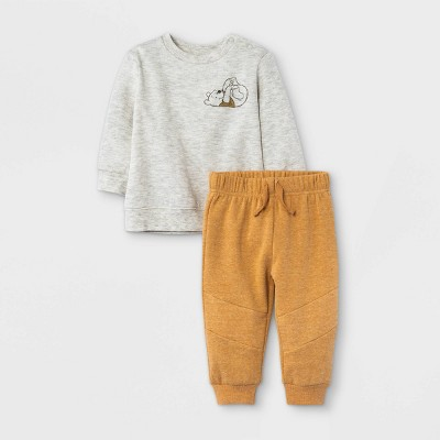 Baby Boys' 2pc Winnie the Pooh Fleece Pullover and Jogger Set - Heather Cream