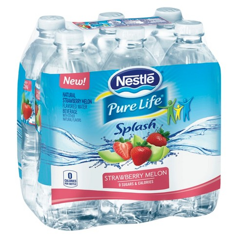 Nestle Pure Life Splash Water Beverages with Natural Fruit Flavors Strawberry Melon - 6pk/16.9 fl oz Bottles - image 1 of 1