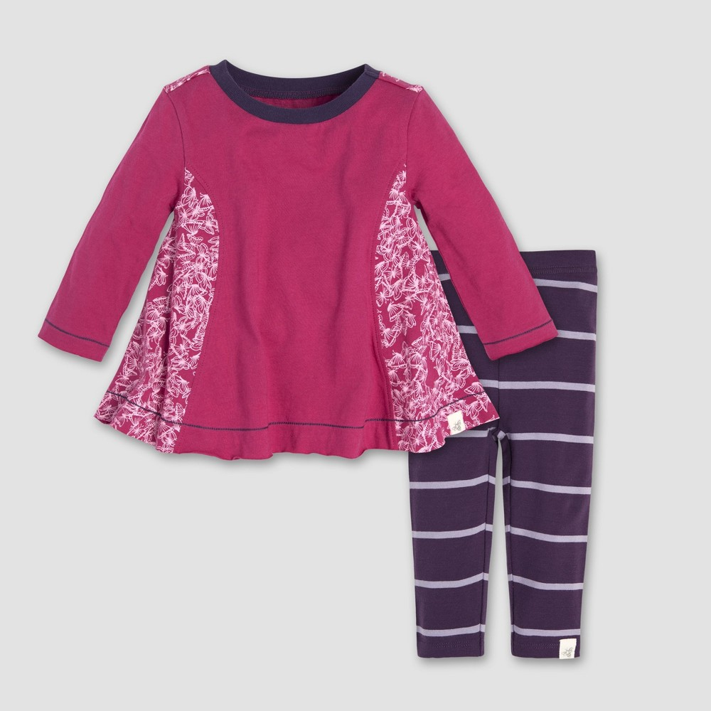 Burt's Bees Baby Baby Girls' Scattered Butterflies Tunic and Leggings Set - Azalea 0-3M, Pink