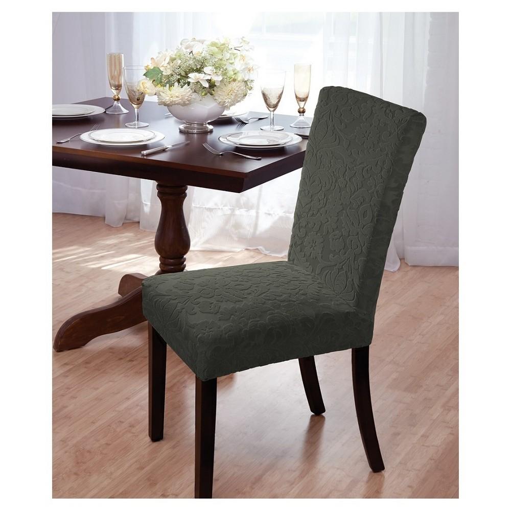 Madsion Green Hunter Velvet Damask Dining Room Chair Cove...