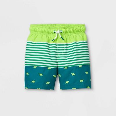 Toddler Boys' Colorblock Turtle Print Swim Trunks - Cat & Jack™ Green