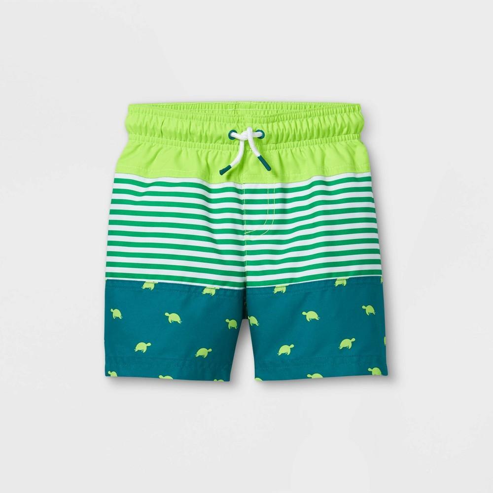 Toddler Boys 39 Colorblock Turtle Print Swim Trunks Cat 38 Jack 8482 Green 18m