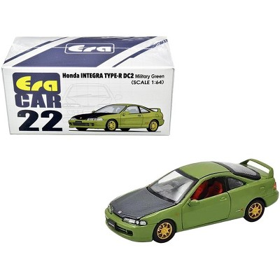 Honda Integra Type-R DC2 Military Green with Carbon Hood and Gold Wheels 1/64 Diecast Model Car by Era Car