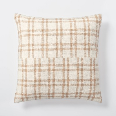 Woven Plaid Throw Pillow with Exposed Zipper Brown/Cream - Threshold™ designed with Studio McGee