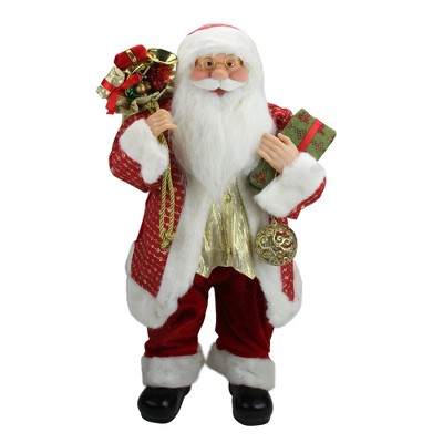 """Northlight 24.5"""" Red Snazzy Standing Santa Christmas Ornament and Gifts Figurine"""