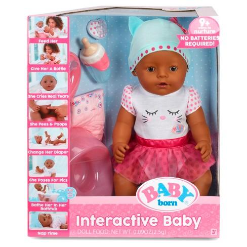 baby born interactive doll dark brown eyes target