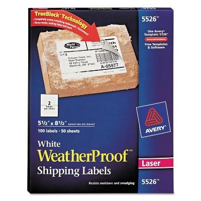 Avery WeatherProof Shipping Labels w/TrueBlock Laser White 5 1/2 x 8 1/2 100/Pack 5526