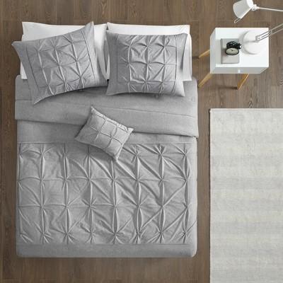 4pc Full/Queen Leila Tufted Comforter Set Gray