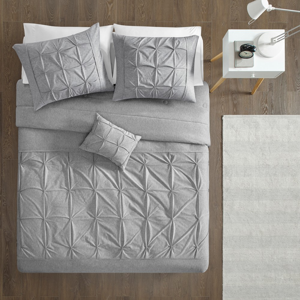 Image of 4pc Full/Queen Leila Tufted Comforter Set Gray