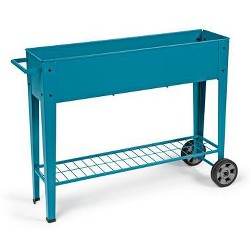 Gardener's Supply Co. Modern Blue Steel Mobile Planter Cart - Gardener's Supply Company