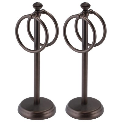 mDesign Metal Fingertip Towel Holder for Bath Vanity Countertop, 2 Pack
