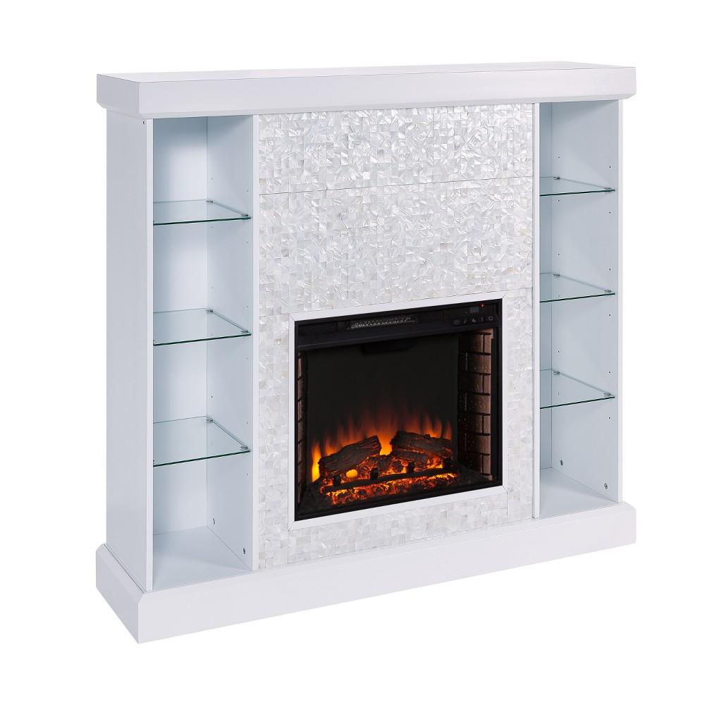 Cotsworth Mosaic Tile Curio Fireplace White - Aiden Lane
