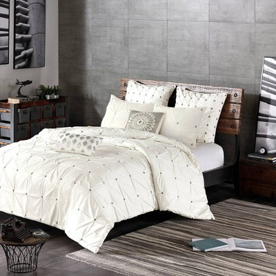 Masie Full/Queen 3pc Embroidered Cotton Duvet Cover Set White