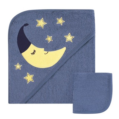 Hudson Baby Infant Boy Cotton Hooded Towel and Washcloth 2pc Set, Moon, One Size