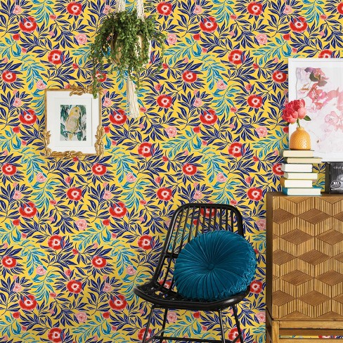 Marker Floral Peel Stick Wallpaper Yellow Opalhouse Target