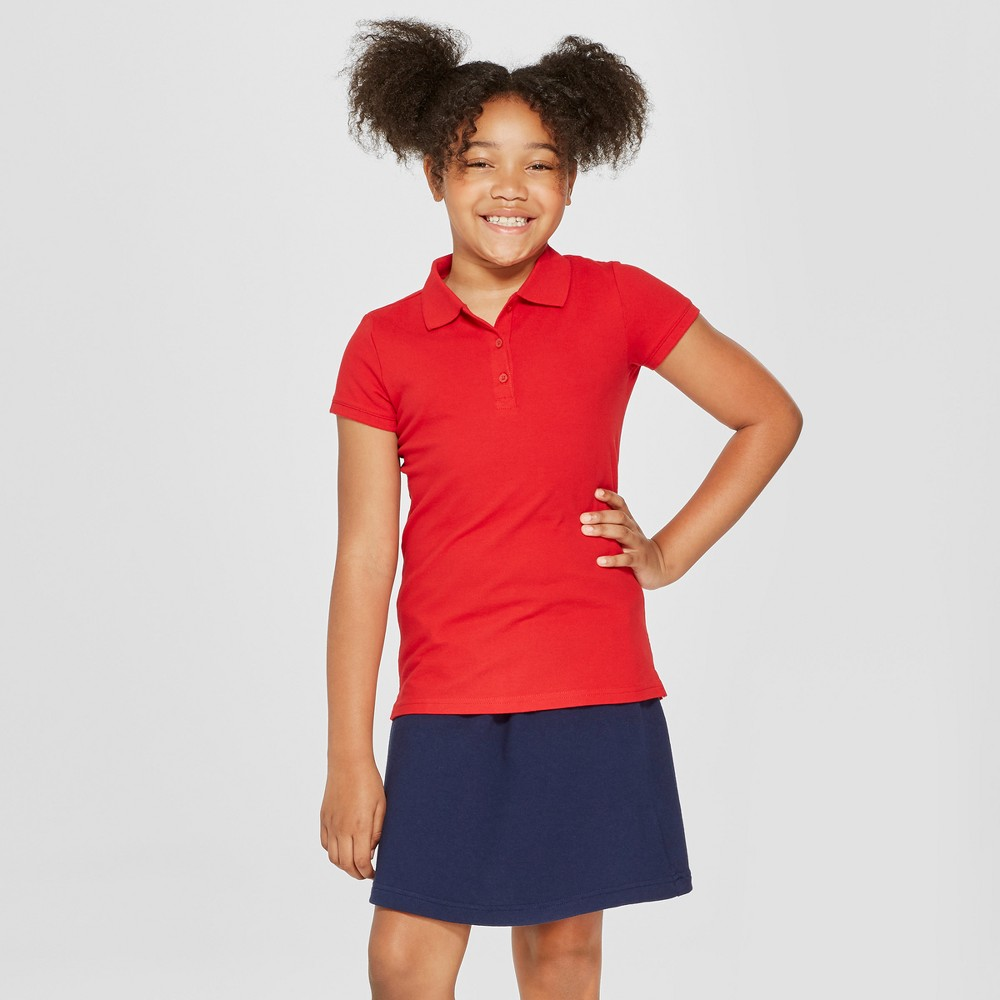 Girls' Short Sleeve Pique Polo Shirt - Cat & Jack Red M