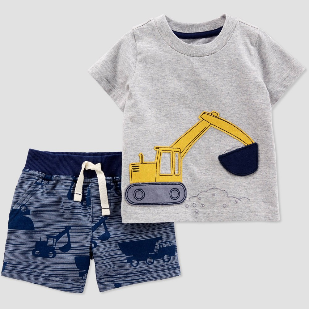 Baby Boys' 2pc Construction Shorts Set - Just One You made by carter's Gray/Navy Blue 24M
