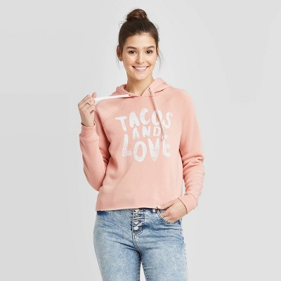 Women's Tacos and Love Cropped Hoodie Sweatshirt - Grayson Threads (Juniors') - Pink