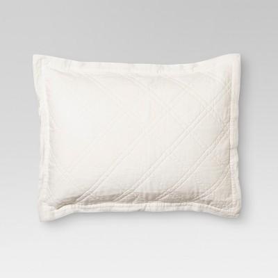 Cream Linen Blend Quilted Sham (Standard)- Threshold™