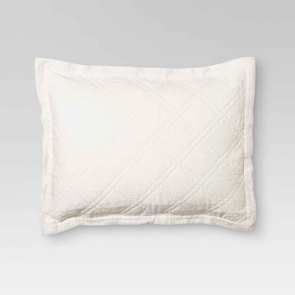 Cream (Ivory) Linen Blend Quilted Sham (King) - Threshold