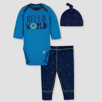 Gerber Baby Boys' 3pc Space Bodysuit Pants & Cap Set - Blue 6-9M