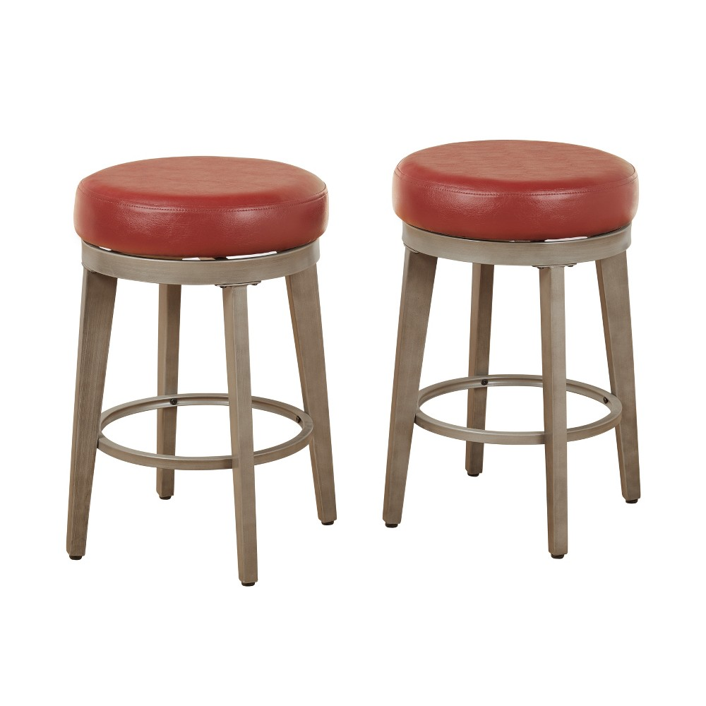 "Image of ""24"""" Linden Swivel Stool Red - Angelo:Home"""