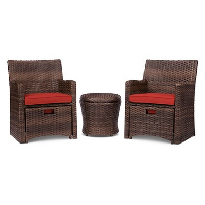 Halsted 5pc All Weather Wicker Outdoor Patio Chat Set   Red   Threshold™