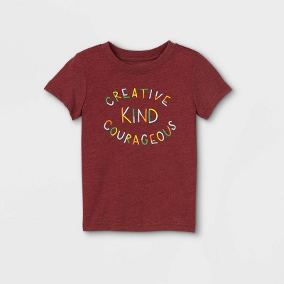 Toddler 'Creative, Kind, Courageous' Graphic Short Sleeve T-Shirt - Cat & Jack™ Maroon