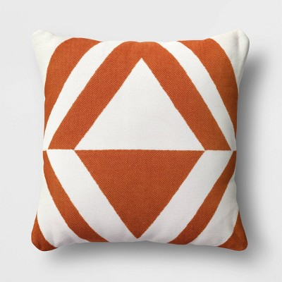 Chenille Diamond Patterned Square Throw Pillow​ Rust/Cream - Project 62™