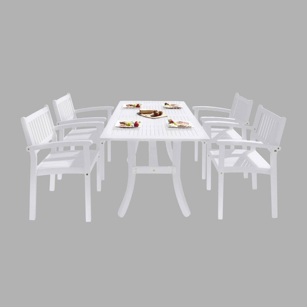 Bradley Outdoor Patio Wood 5pc Dining Set with Stacking Chairs, True White