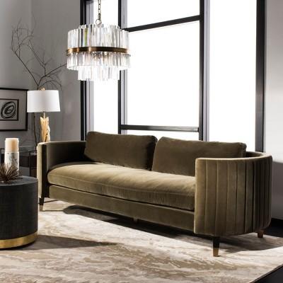 Winford Velvet Sofa Olive   Safavieh : Target