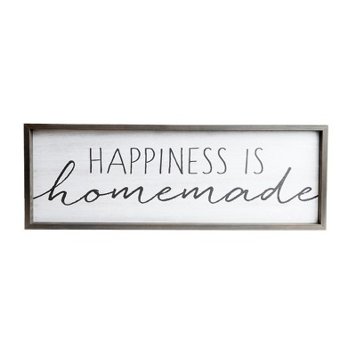 13 x37  Happiness is Homemade Rustic Wood Framed Wall Art White - Patton Wall Decor