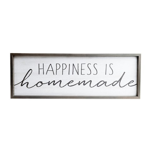 """13""""x37"""" Happiness is Homemade Rustic Wood Framed Wall Art White - Patton Wall Decor - image 1 of 4"""