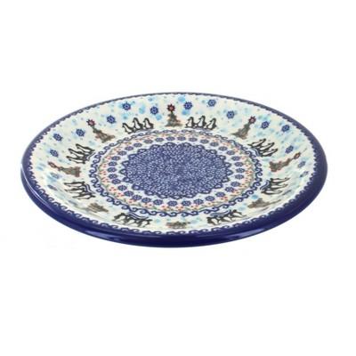 Blue Rose Polish Pottery Arctic Holidays Dinner Plate