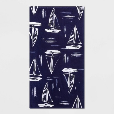 Printed Sailboats Beach Towel Blue - Sun Squad™