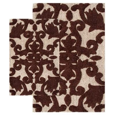 Iron Gate 2 - Pc. Bath Rug Set Chocolate & Linen - Chesapeake Merch Inc.®
