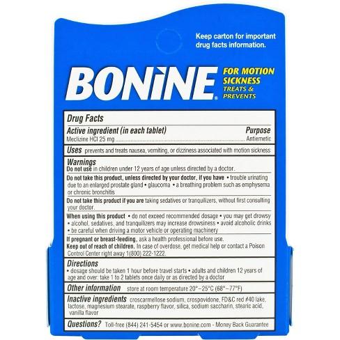 Bonine Motion Sickness Chewable Tablets - 12ct